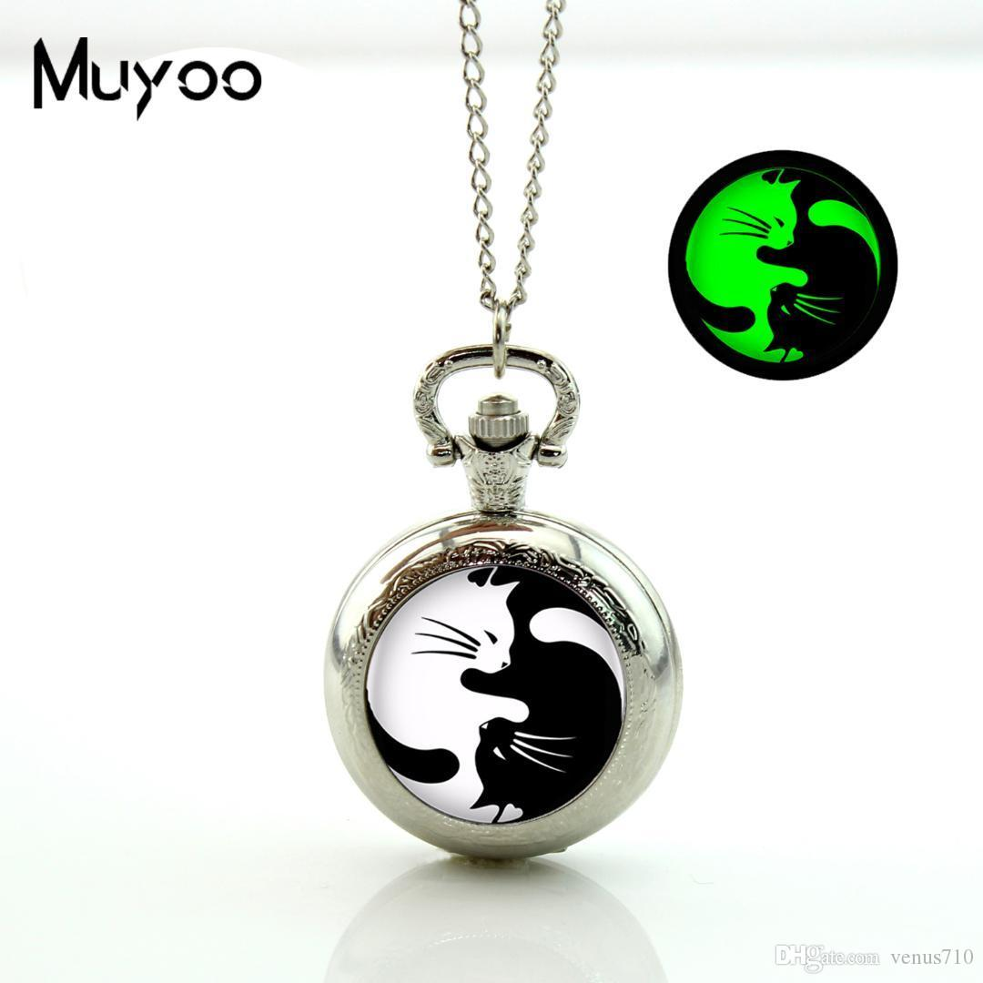 2017 New Yin Yang Cats Pocket Watch Vintage Long Chain Glowing Pocket Watch Pendant Glass Cabochon Necklace Gifts Women