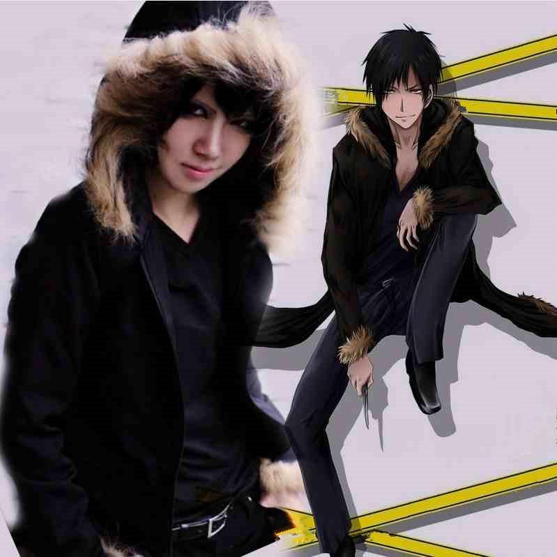 Asya Boyutu Japonya Anime Durarara Orihara Izaya Cosplay Peluş Kostüm Yumuşak Uzun Kollu Siyah Ceket Ceket Hoodie