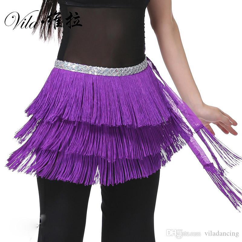 Cheap 12 Colors Belly Dance Clothes 3 Layers Wrap Hip Scarf Adjustable Fit Tassel Women Belly Dance Tassel Belt