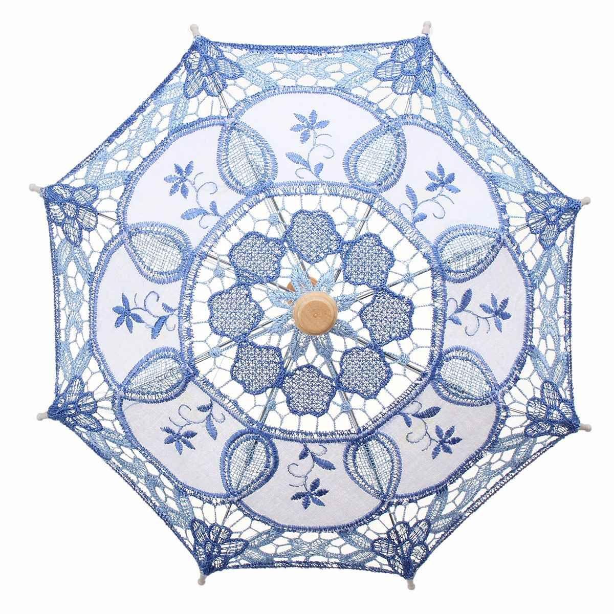 Small Decoration Umbrella for Wedding Party Multicolor Handmade Embroidered Cotton Lace Parasol Decorative Umbrella