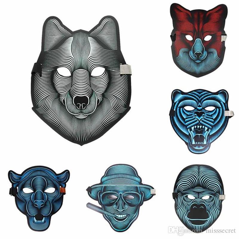 2018 Yeni Tasarım Cadılar Bayramı LED Maskeleri Ses kontrol Işık Cosplay LED Parlayan Maske Tam Yüz Dans Maskesi