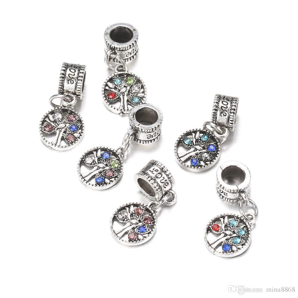 100pcs/lot 10mm Silver Alloy Beads Tree Shape Bead Crystal Pendant for DIY Big Hole Metal Charm Beads Fit For Bracelet making Parts