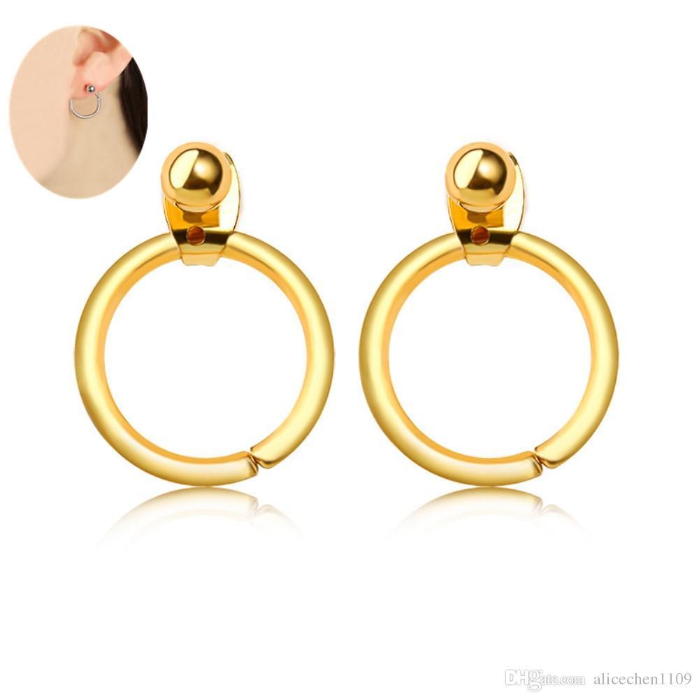 10pairs / lot مجوهرات اكسسوارات لحفل زفاف 1.4 * 2.1cm الأذن الكفة الخلفية شنقا الأقراط الفضية سبائك الذهب اللون مادة مجوهرات ديكور