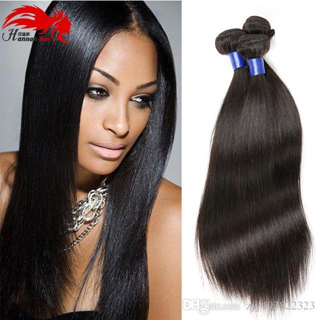 Ханна волосы шелковистые прямые 3 пучка 8а бразильские прямые пучки естественный цвет человеческих волос ткать Реми наращивание волос