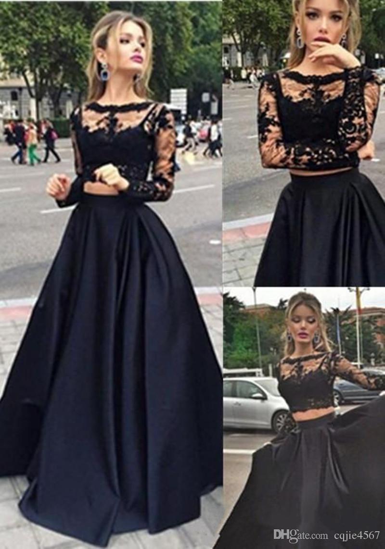Compre 2019 Nuevo Negro Sexy Dos Piezas Vestidos De Baile Top De Encaje De Manga Larga 2 Piezas De Noche Vestidos De Graduación Vestidos De Fiesta