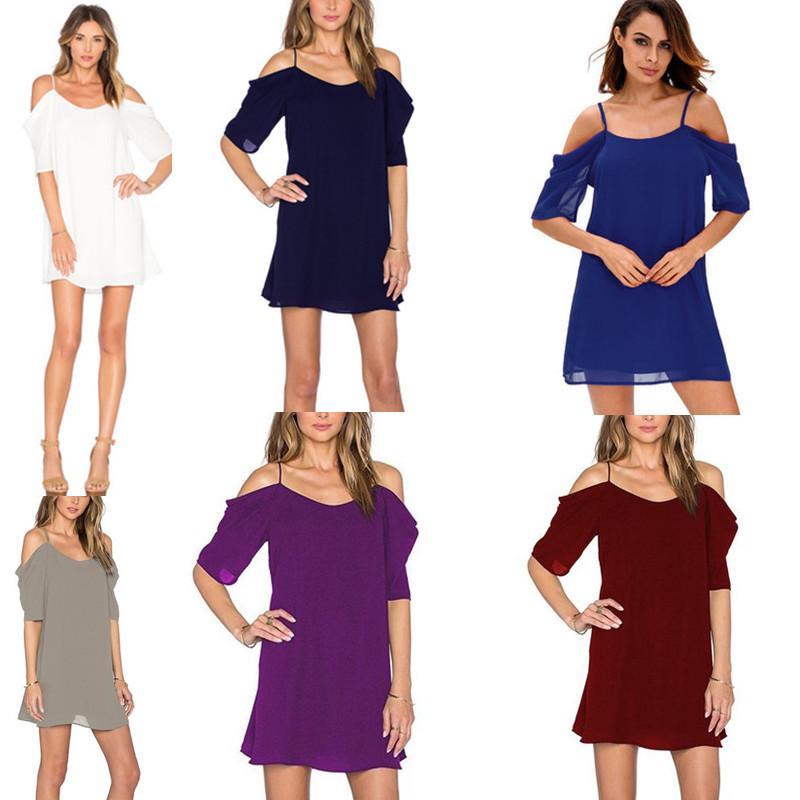 Natürliche Frauen-Chiffon- Kleid-neuer Sommer-Kurzschluss-Hülsen-Sommerkleid-weiblicher reizvoller fester Bügel weg von den Schulter-Kleidern beiläufig plus Größe S-3XL