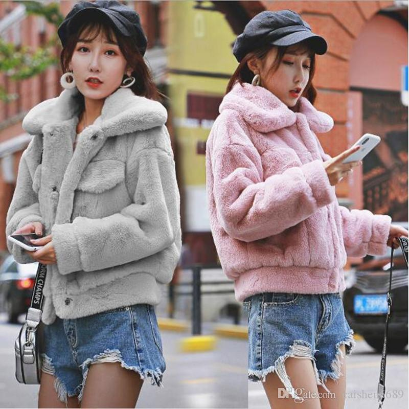 New Imitation Fur Coat Women Clothing Fashion Jacket 2018 Winter Casual Short Tops Rex Rabbit Plush Coat Warm Jacket High Quality