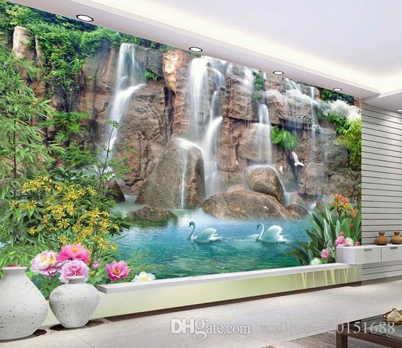 Hermosos paisajes del agua y la pared del fondo de la TV murales 3d papel tapiz para sala de estar