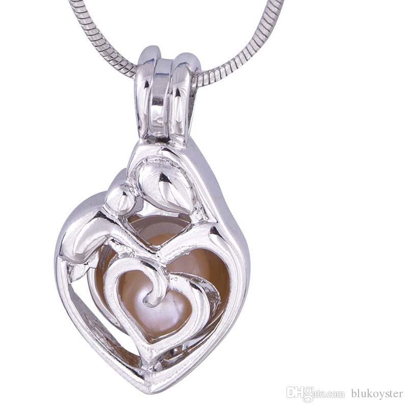 10pcs Gümüş Sevimli Kalpler İnci Kafes Mücevher dilek Kafes kolye Esansiyel Yağı Yayıcı Eğlence Hediyeler P58