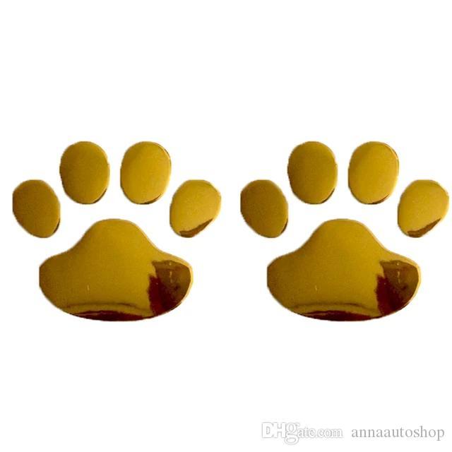 100pcs Car Sticker Cool Design Paw 3D Animal Dog Cat Bear Foot Prints Footprint 3M Decal Car Stickers Silver Gold Red Black