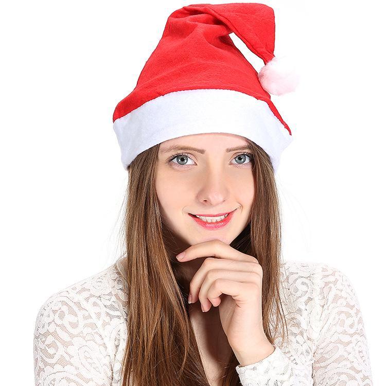 200PCS 빨간 산타 클로스 모자 부직포 울트라 소프트 봉제 크리스마스 코스프레 모자 장식 어른 아이 크리스마스 파티 모자