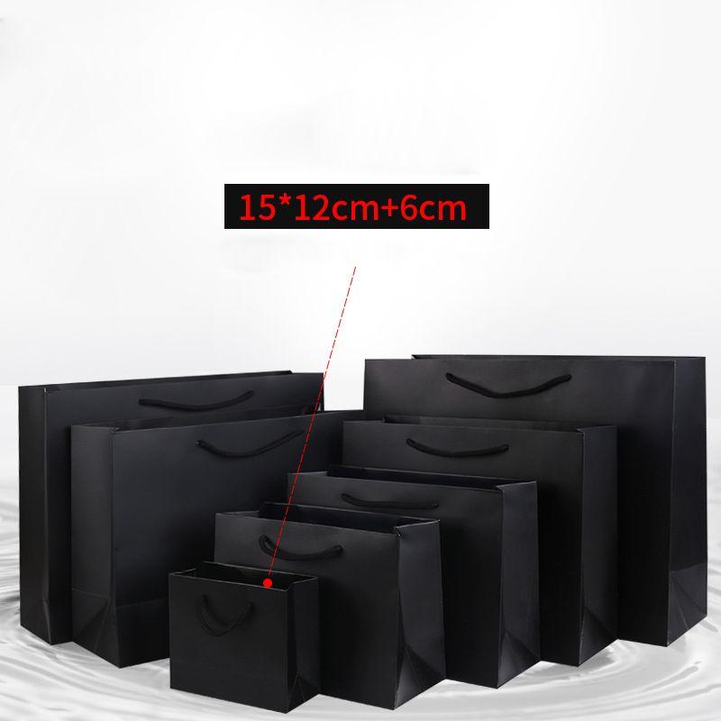 파티 선물 ClothesShoes 사용자 정의 로고 사용 가능한을위한 손잡이 15 개 * 12 개 + 6cm 검은 색 종이 선물 가방 작은 미니 사이즈 크래프트 쇼핑 가방
