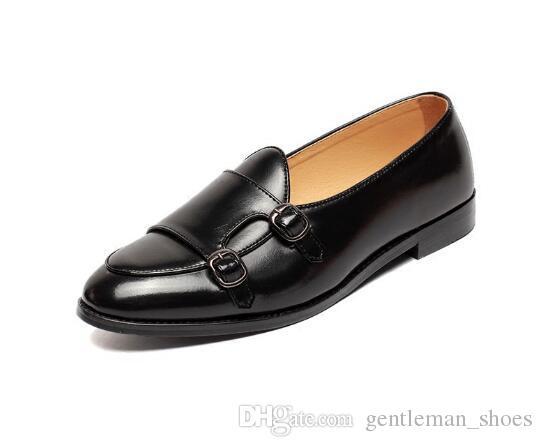 Promoção nova moda mens fivela vinho vermelho bronzeado preto cúspide mocassins preto casual dress shoes eua tamanho: 6.5-10 cl2