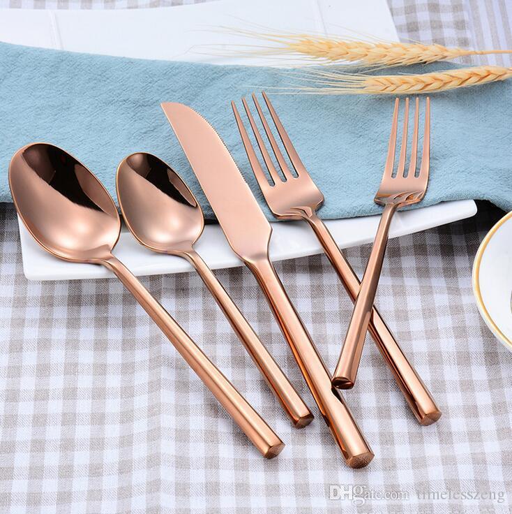 1 Conjunto de utensilios de cocina creativa conjunto de 4 colores cuchillo tenedor cuchara 5 piezas juego de cubiertos conjunto de acero inoxidable de alta calidad vajilla vajilla