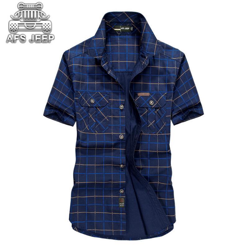Camicie da uomo larghe 5XL Camicie da uomo 2018 estate AFS Jeep Abbigliamento di marca Camiseta Masculina Plaid Camicia da uomo manica corta in cotone 100% Y1892101