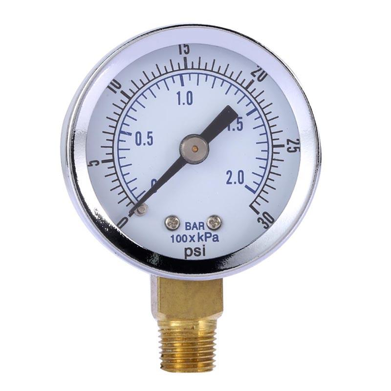 "1/8"" NPT 0-30PSI 0-2bar Mini Pressure Gauge Air Compressor Hydraulic Vacuum Gauge Manometer Pressure Tester Back Mount 1.5"" Dial"