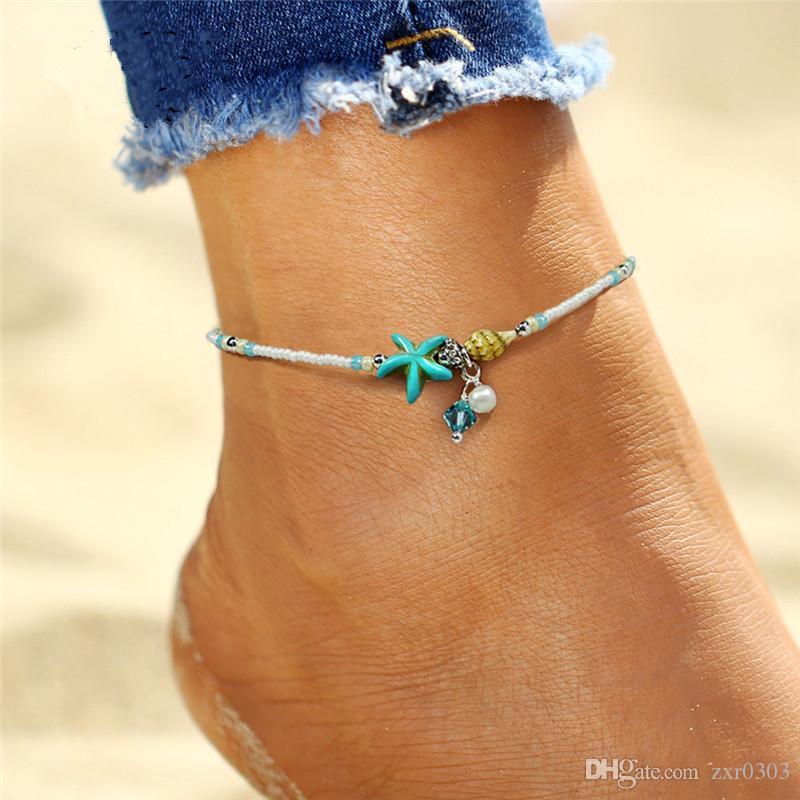 Мода чешский искусственный жемчуг Морская звезда подвески браслеты ножные браслеты для женщин лето ноги цепи Shell ювелирные изделия подарок