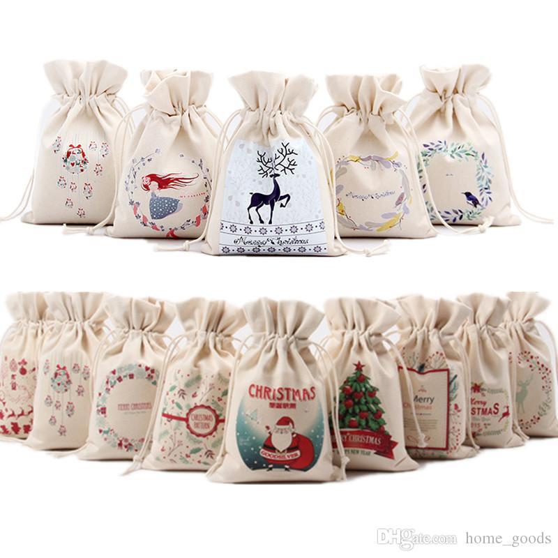 14 أنماط قماش سانتا كلوز الرباط حقائب هدايا عيد الميلاد سانتا ثلج زينة عيد الميلاد أكياس الحلوى هدية