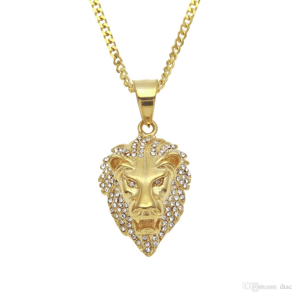 2018 luxurious mens hip hop gold plated lion head diamond pendant 2018 luxurious mens hip hop gold plated lion head diamond pendant men necklace king crown iced mozeypictures Choice Image