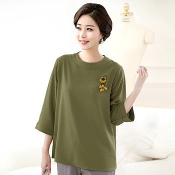 5Xl 6Xl Plus Size Women Blouses Tops Summer Ladies 2017 Fashion Mother Solid O-neck Chiffon Shirt Large Size Loose Clothes