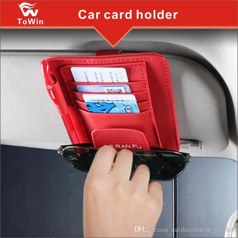 Araba Güneşlik Organizatör Kart Depolama Tutucu Kılıfı Minimalist Tasarım Kart Kılıfı Kalem Gözlük Klip kartları çantası