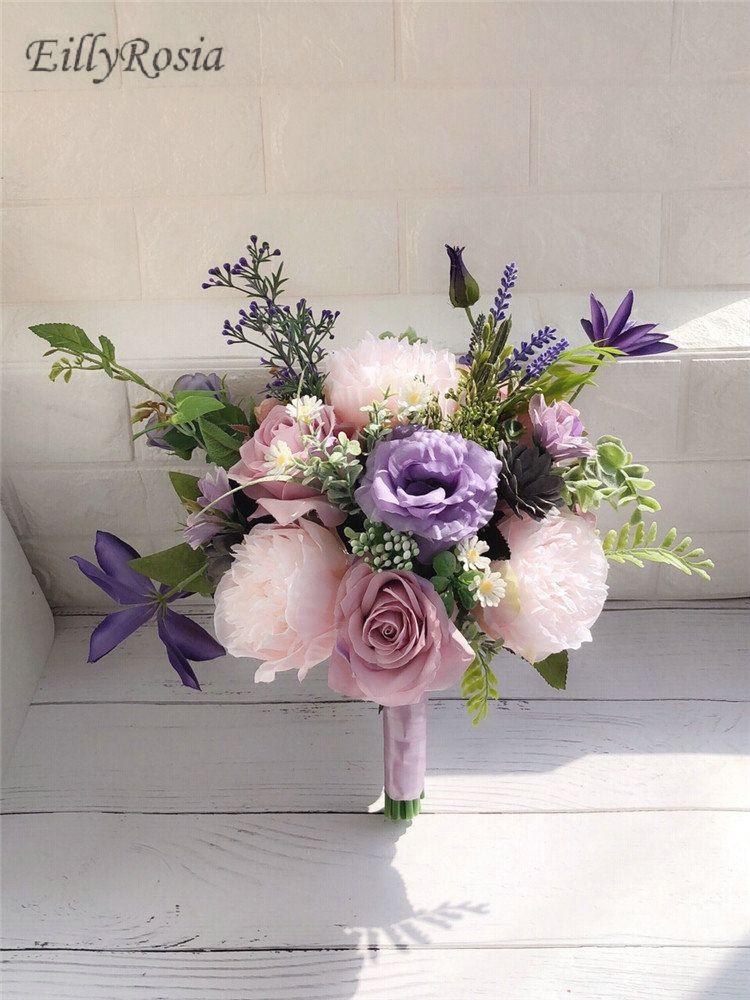 Bouquet Sposa Lavanda.Acquista Lilla Lavanda Viola Bouquet Da Sposa Paese Matrimonio