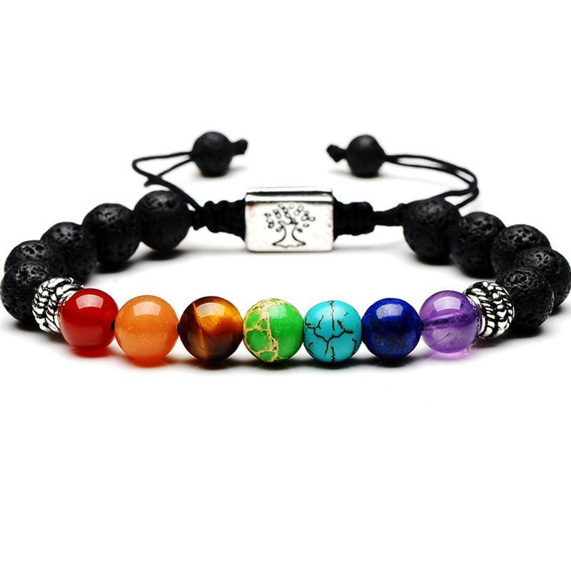 Yoga fatto a mano 7 Chakra Albero della vita Braccialetti con ciondoli Pietre laviche Perline multicolori Bracciale in corda Donna Uomo Bracciali Braccialetti