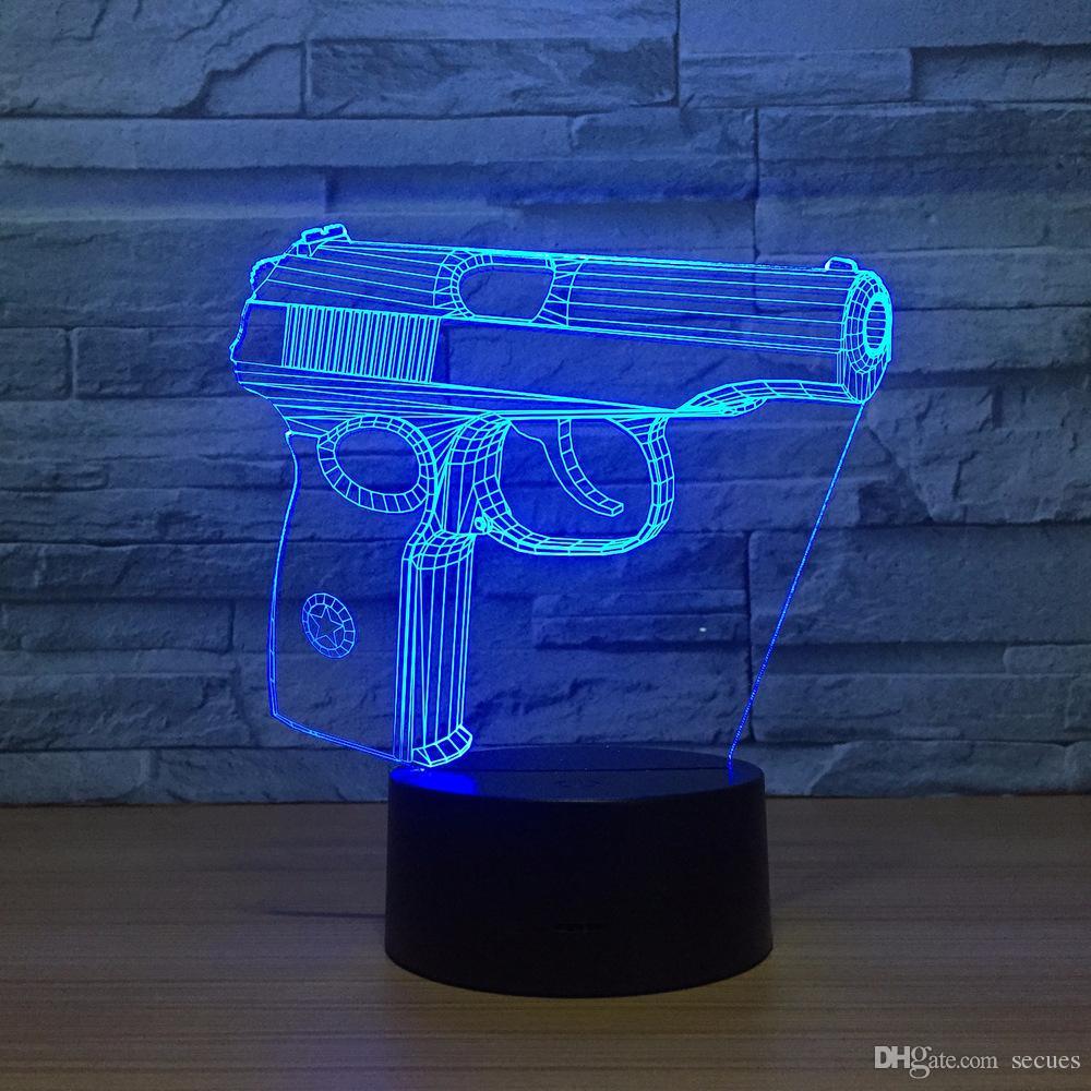 Illusion Pistol 3D Optical Illusion Lamp Night Light DC 5V USB Powered Battery Wholesale Dropshipping Free Shippin