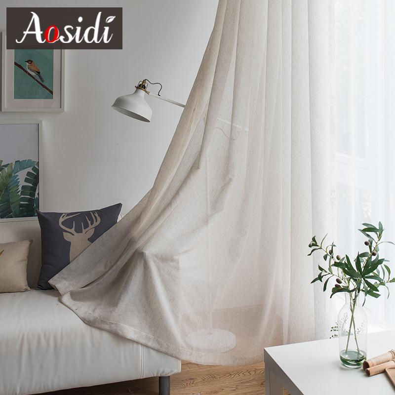 베이지 색 리넨 얇은 명주 그물 침대 커튼 침실 현대 솔질 보온 커튼 어린이 커튼