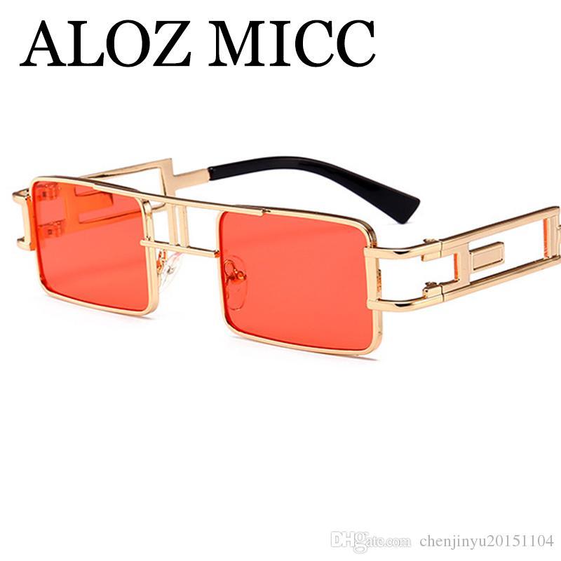 Liga Micc Steampunk A453 Designer Mulheres na moda Quadro Quadrado Óculos Óculos de Sol Homens Retro Fêmea Fêmeas Aloz Sun Fohlw