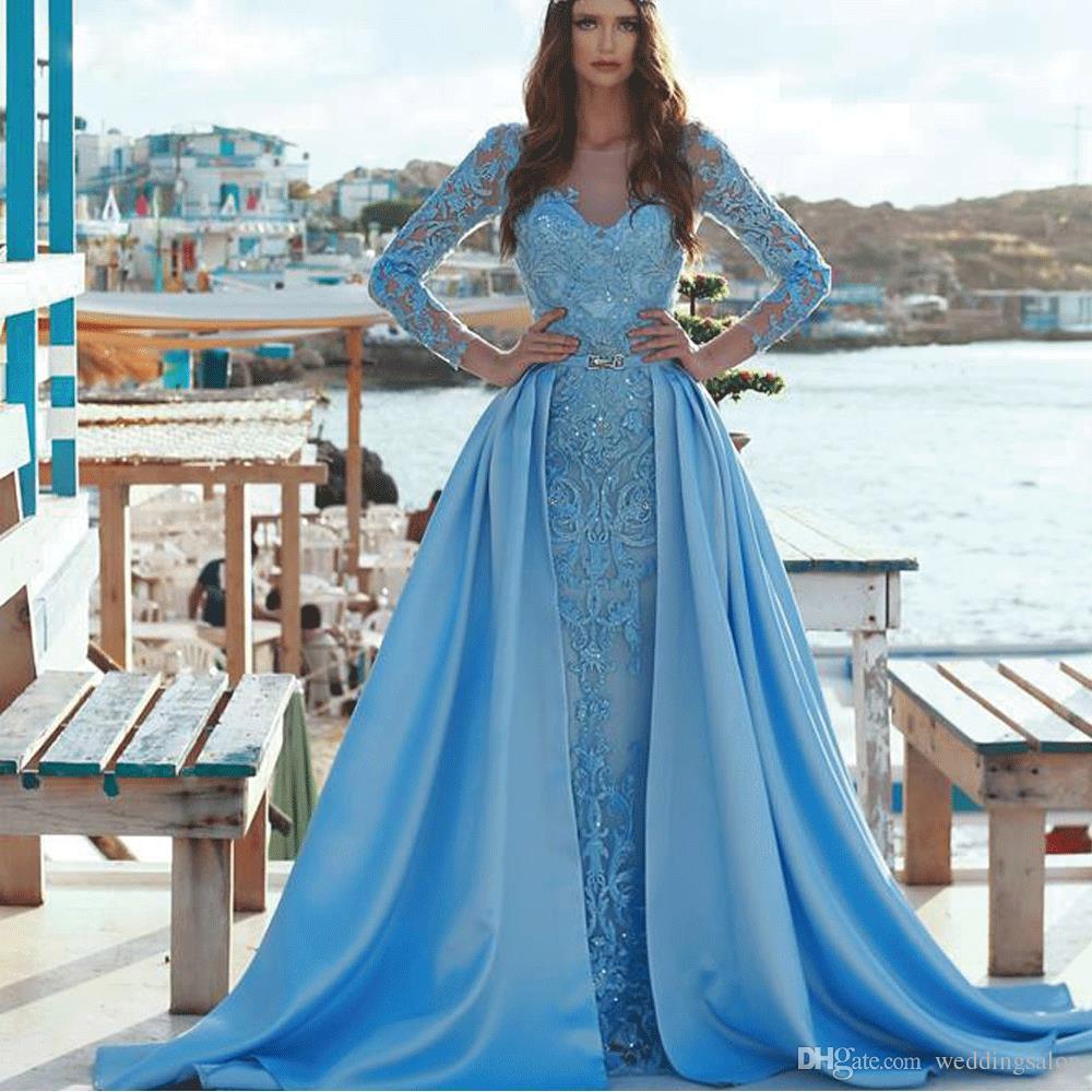 Sereia do vintage azul vestidos de noite com trem destacável laço vestido de celebridade jóia pescoço mangas compridas cetim peplum desgaste da noite