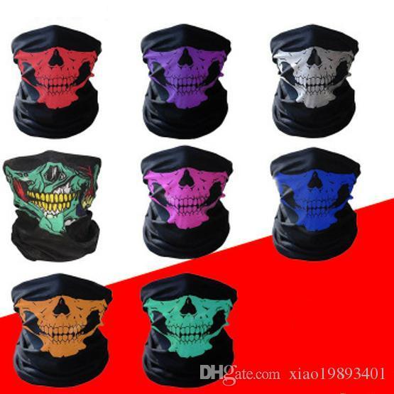 de haute qualité extérieure transparente polyvalent magique Skull Foulard Masque Foulard Masques à vélo équitation Réchauffez Foulard Costumes d'Halloween