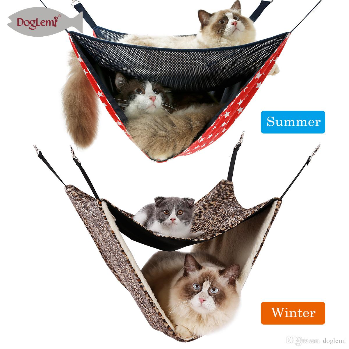 Free Shipping!!2 Story Level Cat Hammock Cage Hanging Bedding
