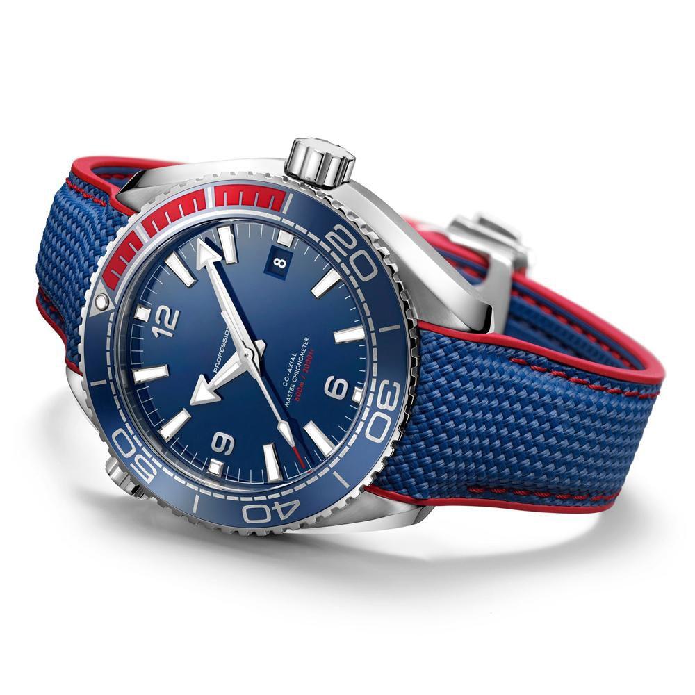 Venda Limitada Assista Homens Azul Face Série Olímpica WristWatch Mecânico Automático Vidro Back Mens Relógios Grátis Frete Grátis Venda Quente