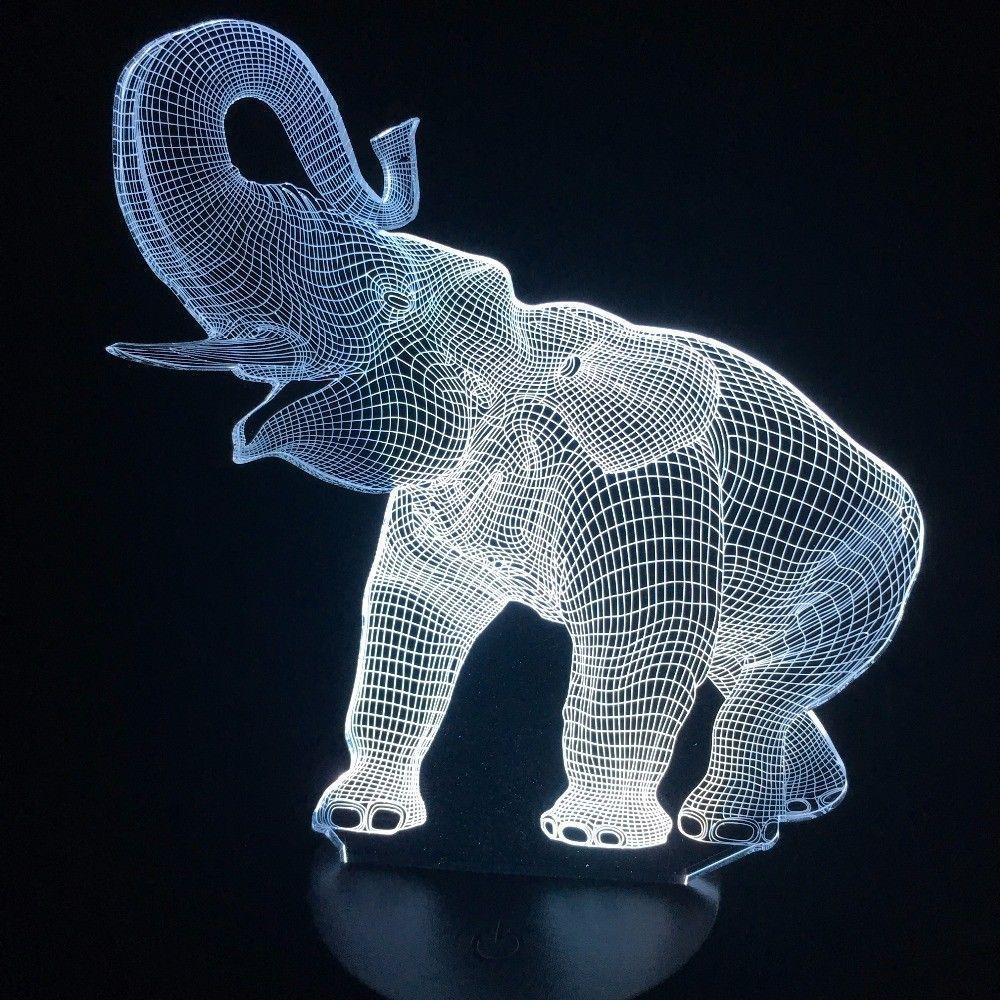 Visual Animal Éléphant Forme 3D Illusion LED Lampe De Table Night Light 7 Couleurs Change Chambre Dormir Décoration De Noël # T56