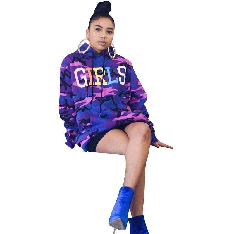 여성 후드 가을 겨울 새로운 위장 편지 후드 긴 소매 후드 스웨터 퍼플 패션 streetwear 까마귀 810