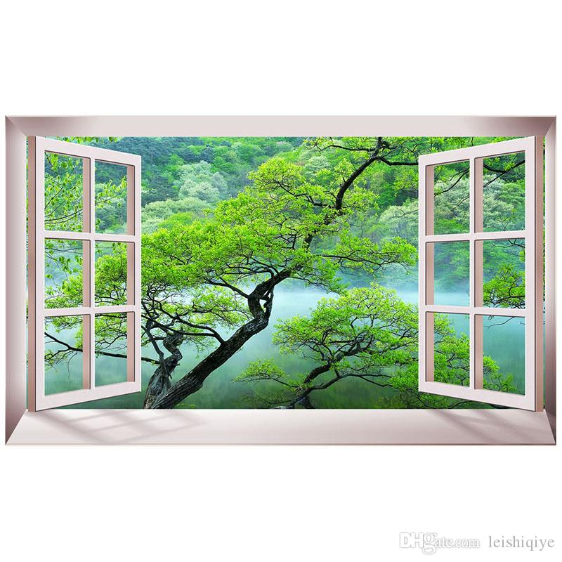 Kexinzu Full Square Diamond Scenery outside the Window Green tree 5D DIY Diamond Painting Embroidery Cross Stitch Mosaic Room Decor