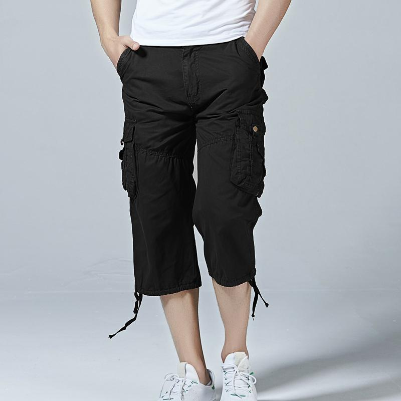 64851a66778 2019 2018 Men S Cotton Twill Relaxed Fit Cargo Short 2018 Summer Fashion  Male Long Multi Pockets Casual Capri Pants Work Trousers From Hongxigua