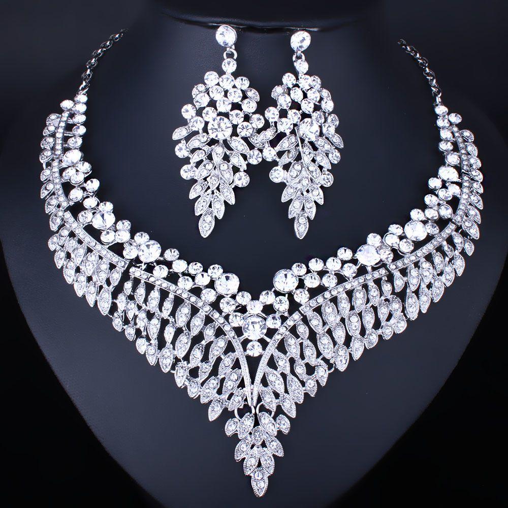 ФАРЛЕНА ювелирные изделия посеребренные высокое качество прозрачный кристалл горный хрусталь ожерелье серьги для женщин свадьба Индийский комплект ювелирных изделий D18101003