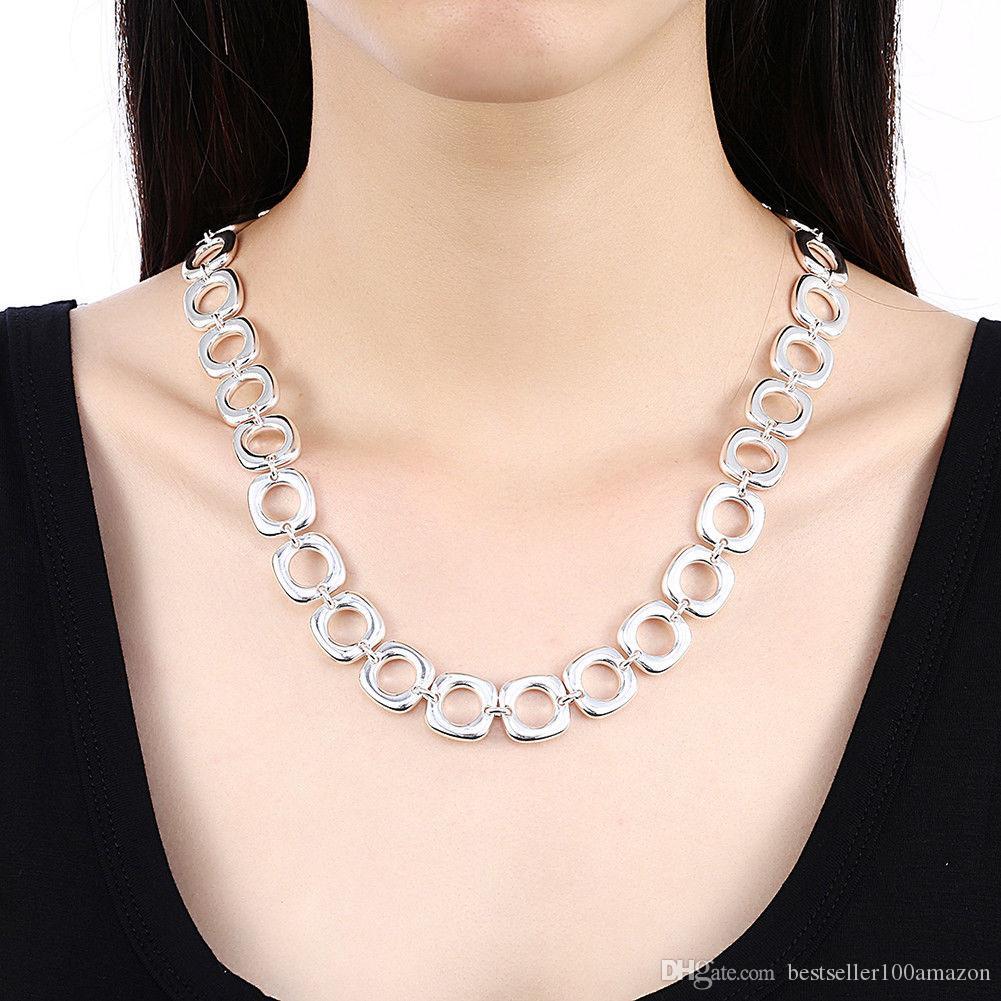 Fine 925 Sterling Silver Necklace 18inch Shake Chain Link, 2018 Fine Real 925 Prata Link Corrente Itália Colar Novo Estilo Hot Sn033