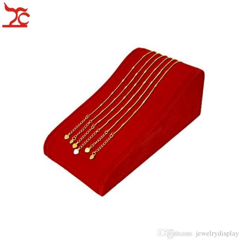 Exhibidores de la joyería Apoyos Red Velvet Necklace Holder Pendant Stand Organizador para 8pcs Collar Display Rack, ENVÍO GRATIS