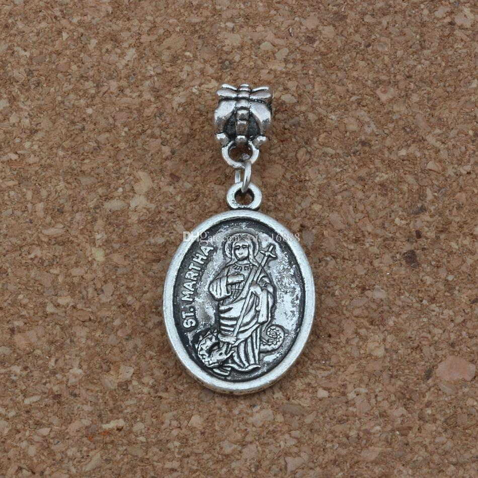 100pcs/lot Dangle Ancient silver ST. MARTHA religion Charm Big Hole Beads Fit European Charm Bracelet Jewelry 16.2x38mm A-249a