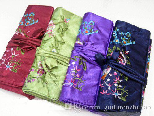 Folding Embroidery flower Bird Jewelry Roll Up Bag Silk Zipper Pouch Drawstring Travel Makeup Storage Bag Large Women Cosmetic Bag 10pcs/lot