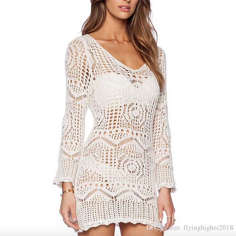 af9922f9ed New Sexy Beach tunic Summer Bathing suit Cover ups Crochet Beachwear  Swimsuit Coverups Womens Sexy Beach Sarong Bikini Cover Up