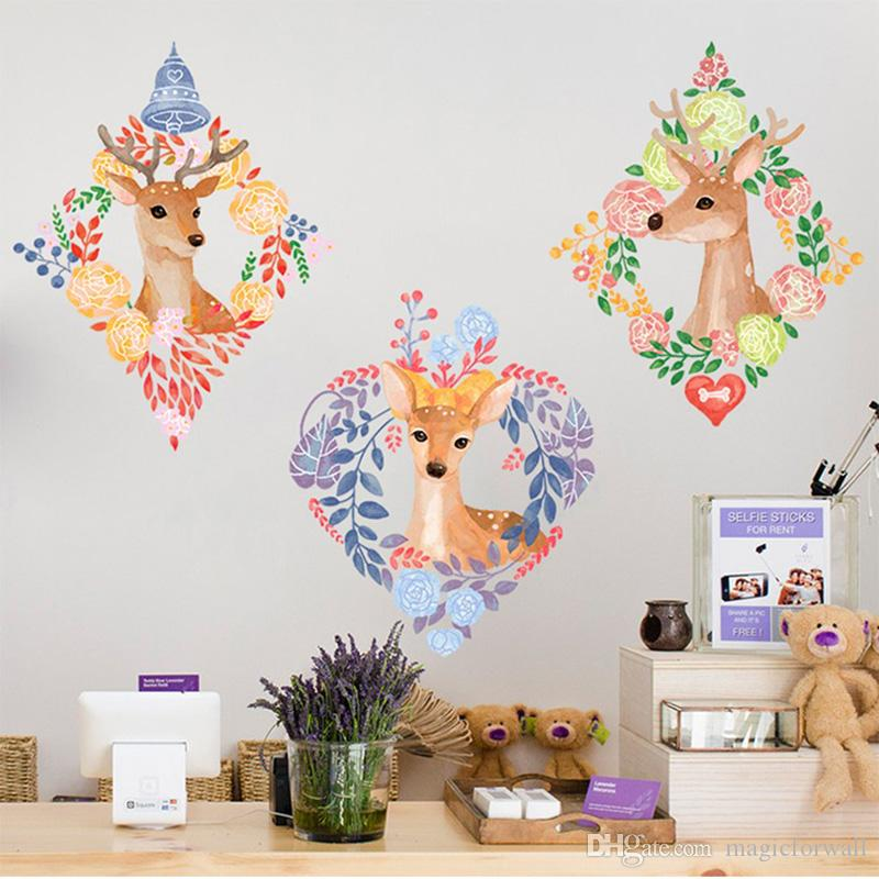 Creative Flowers Wreath Fake Picture Frame Deer Wall Stickers Home Decor Kids Room Nursery Wall Mural Poster Art Living Room
