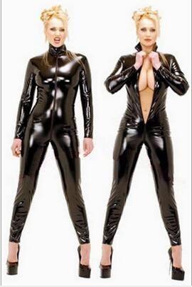 Hot Sexy Schwarz Catwomen Jumpsuit PVC Spandex Latex Catsuit für Frauen Bodys Fetisch Leder-Kleid plus Größe XS-5XL