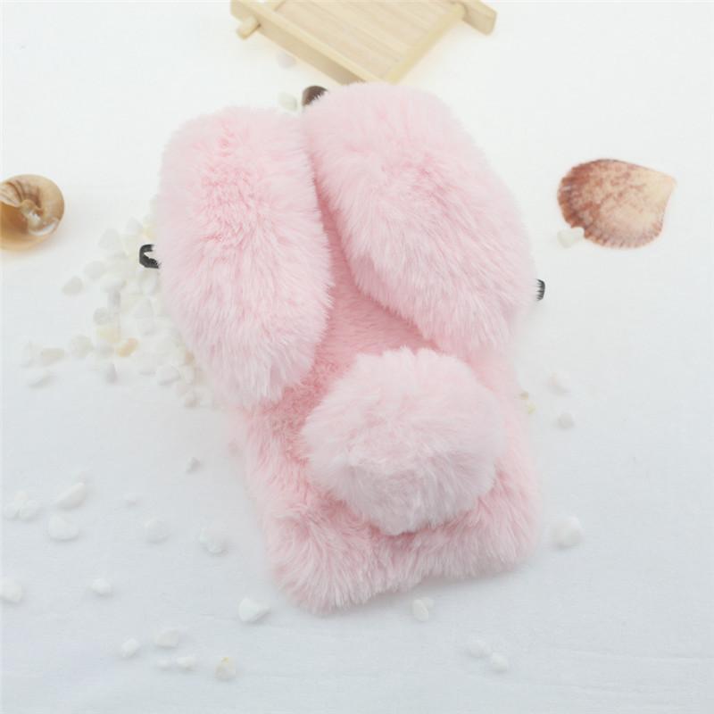 Cute Rabbit Doll Plush Cover for Huawei Y5 Y7 Phone Case Bling Diamond TPU Cover For Huawei Y5 Y6 Y9 2018 Soft Winter Girls Capa