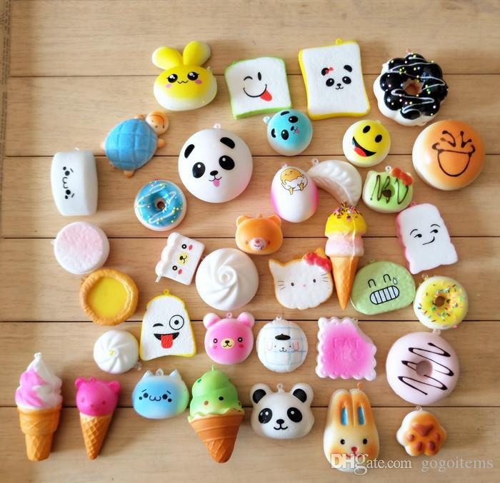 30pcs/pack Squishies Slow Rising Squishy random sweetmeats ice cream cake bread Strawberry Bread Charm Phone Straps Soft Fruit Kids Toys