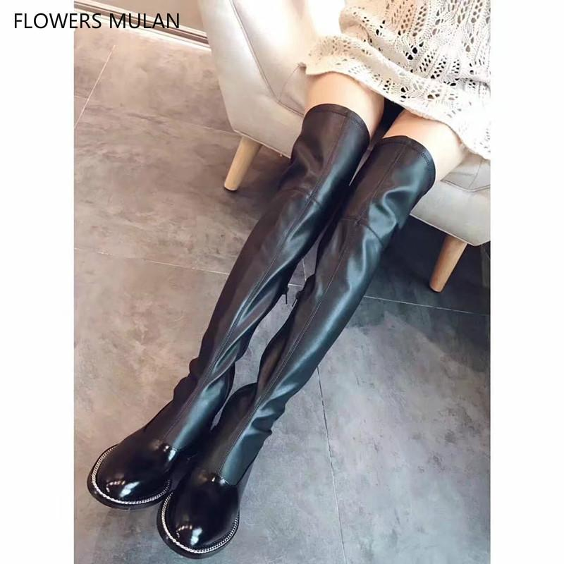 Real Leather Women Long Boots Thigh High Patchwork Patent Round Toe Matt Leather Ladies Botas Chain Sole Winter Shoes
