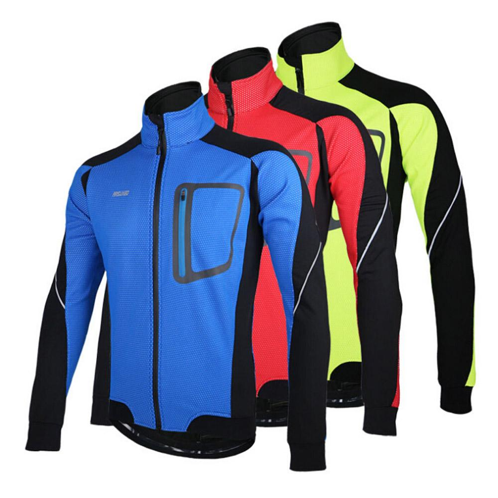 Men's jersey Long Sleeve Winter Warm Thermal Running Jacket Windproof Breathable Sport Jacket Bicycle Clothing Cycling MTB Jersey